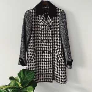 Express Houndstooth Patterned Pea Coat Sz Small